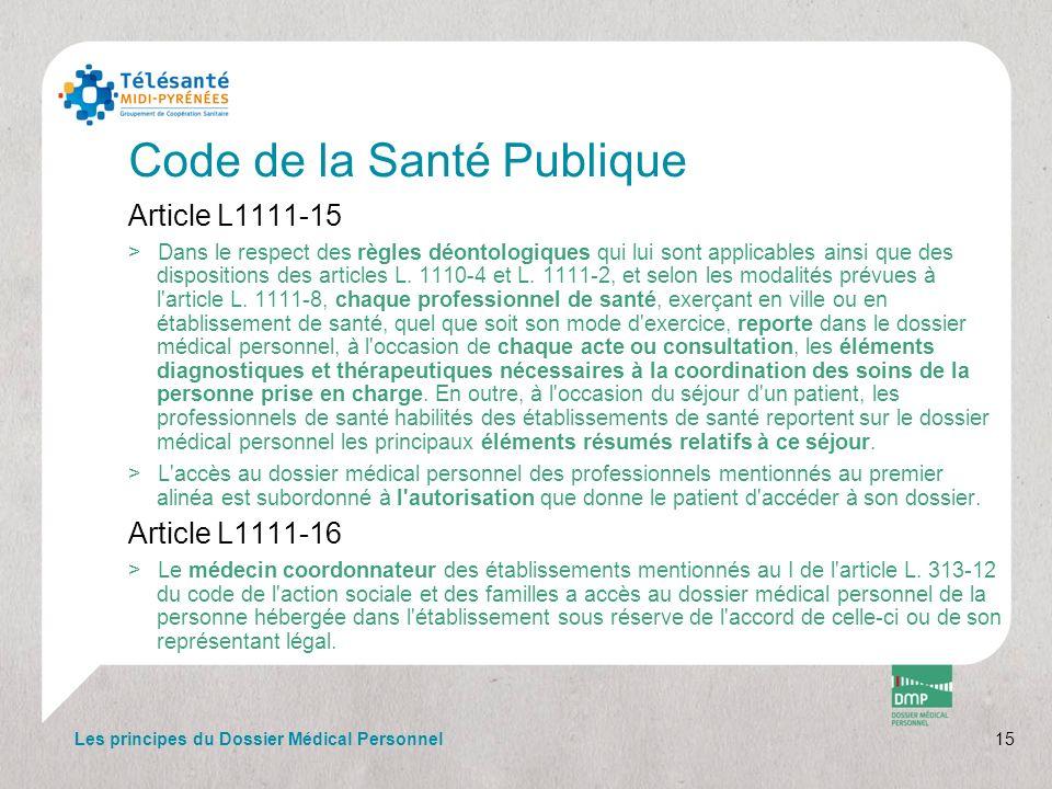 Code de la Santé Publique Article L1111-15 >Dans le respect des règles déontologiques qui lui sont applicables ainsi que des dispositions des articles