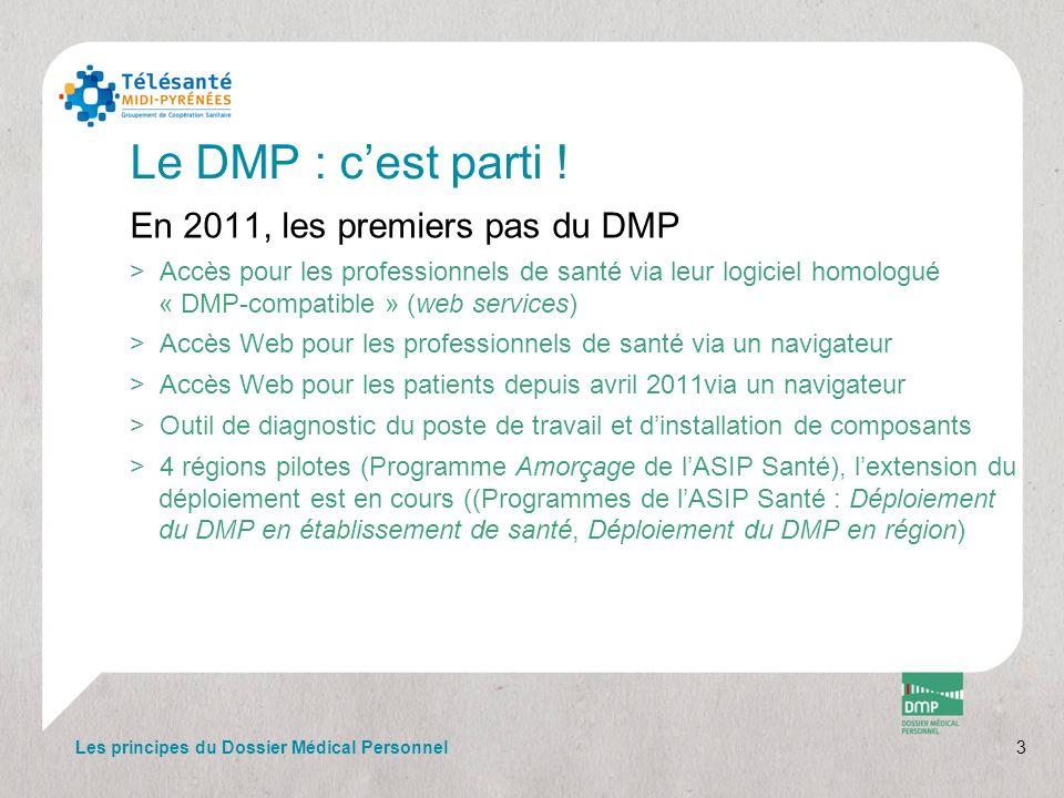 3 Le DMP : cest parti ! En 2011, les premiers pas du DMP >Accès pour les professionnels de santé via leur logiciel homologué « DMP-compatible » (web s