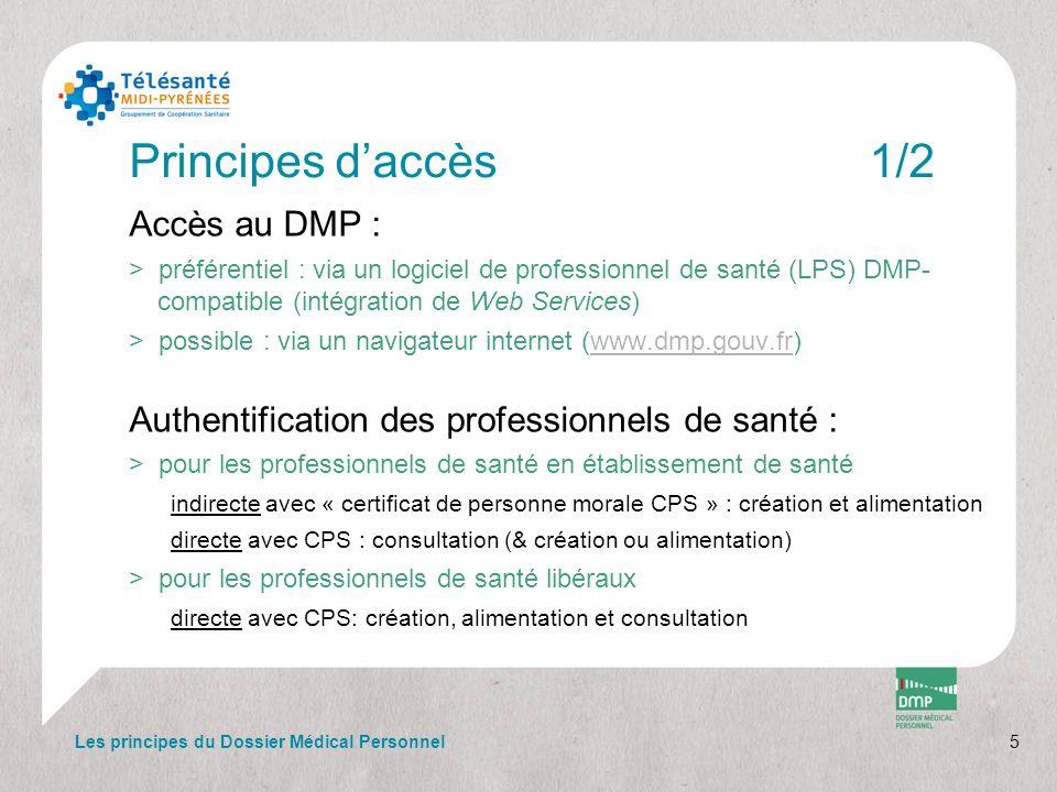 5 Principes daccès1/2 Accès au DMP : >préférentiel : via un logiciel de professionnel de santé (LPS) DMP- compatible (intégration de Web Services) >po