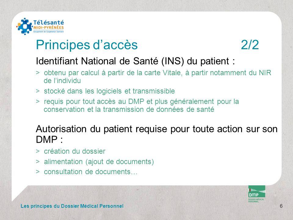 6 Principes daccès2/2 Identifiant National de Santé (INS) du patient : >obtenu par calcul à partir de la carte Vitale, à partir notamment du NIR de li
