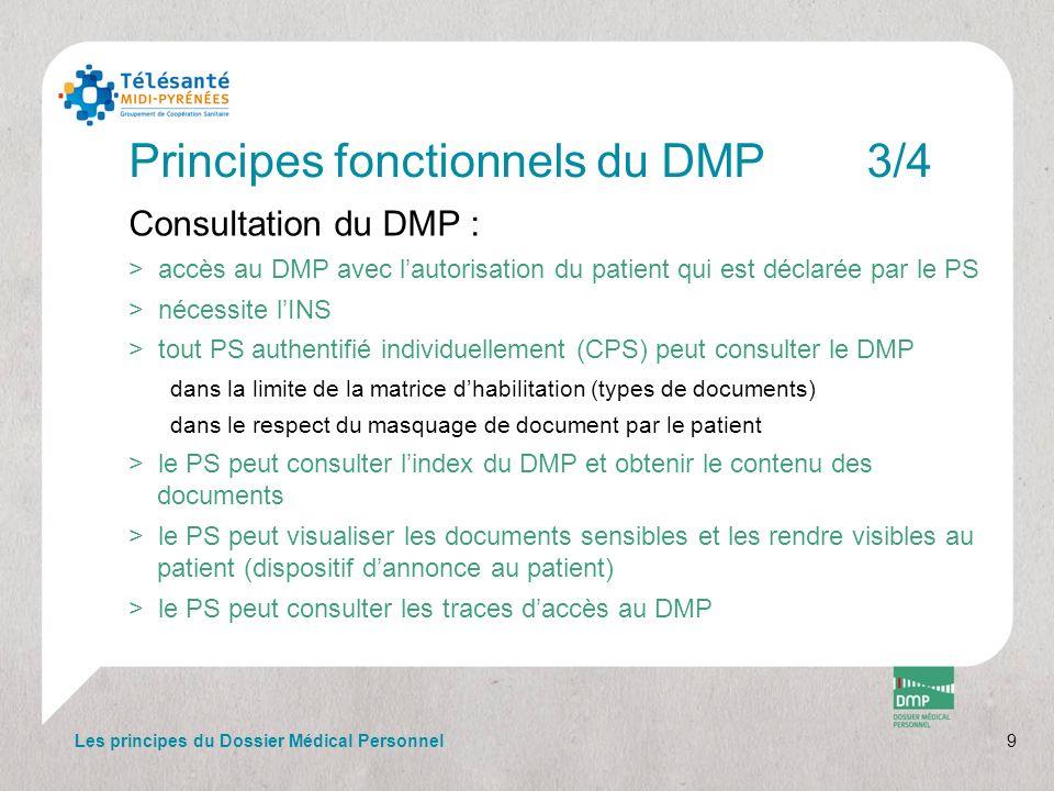9 Principes fonctionnels du DMP3/4 Consultation du DMP : >accès au DMP avec lautorisation du patient qui est déclarée par le PS >nécessite lINS >tout