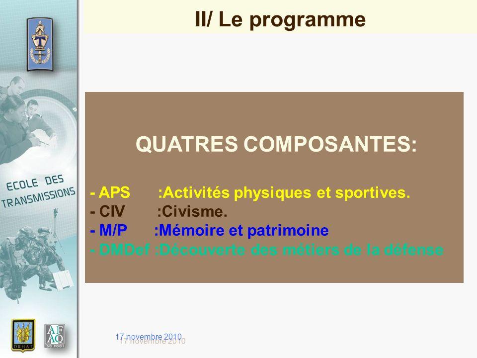 17 novembre 2010 QUATRES COMPOSANTES: - APS :Activités physiques et sportives. - CIV :Civisme. - M/P :Mémoire et patrimoine - DMDef :Découverte des mé