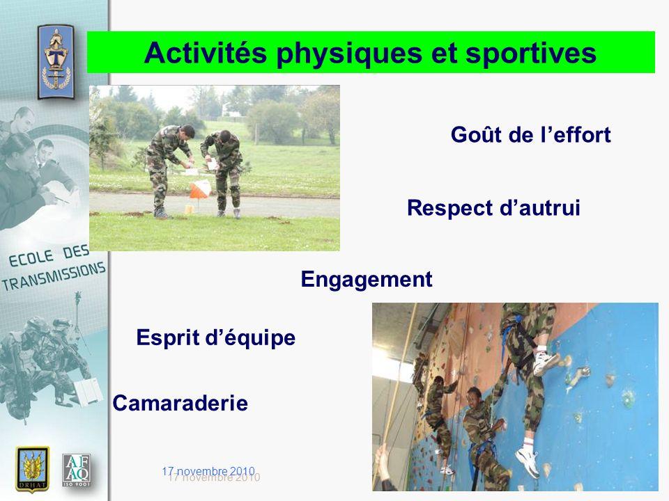 17 novembre 2010 Activités physiques et sportives Goût de leffort Respect dautrui Camaraderie Esprit déquipe Engagement