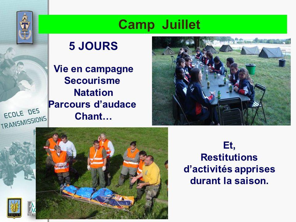 17 novembre 2010 Camp Juillet 5 JOURS Vie en campagne Secourisme Natation Parcours daudace Chant… Et, Restitutions dactivités apprises durant la saiso