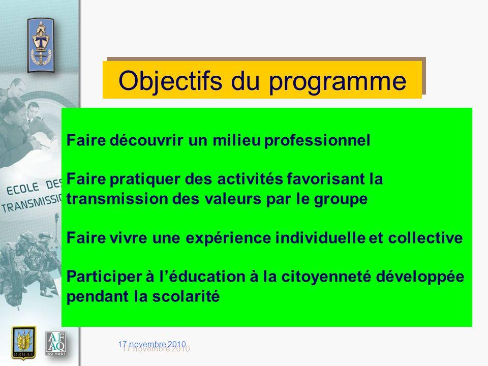 17 novembre 2010 Objectifs du programme Faire découvrir un milieu professionnel Faire pratiquer des activités favorisant la transmission des valeurs p