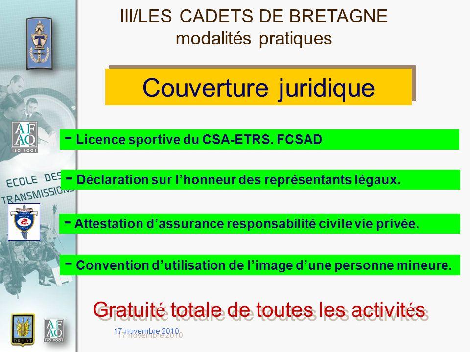 17 novembre 2010 Couverture juridique - Licence sportive du CSA-ETRS. FCSAD - Déclaration sur lhonneur des représentants légaux. - Convention dutilisa