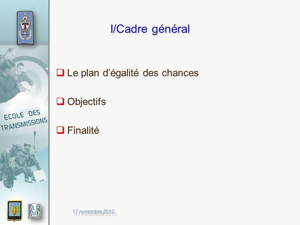 17 novembre 2010 I/Cadre général Le plan dégalité des chances Objectifs Finalité
