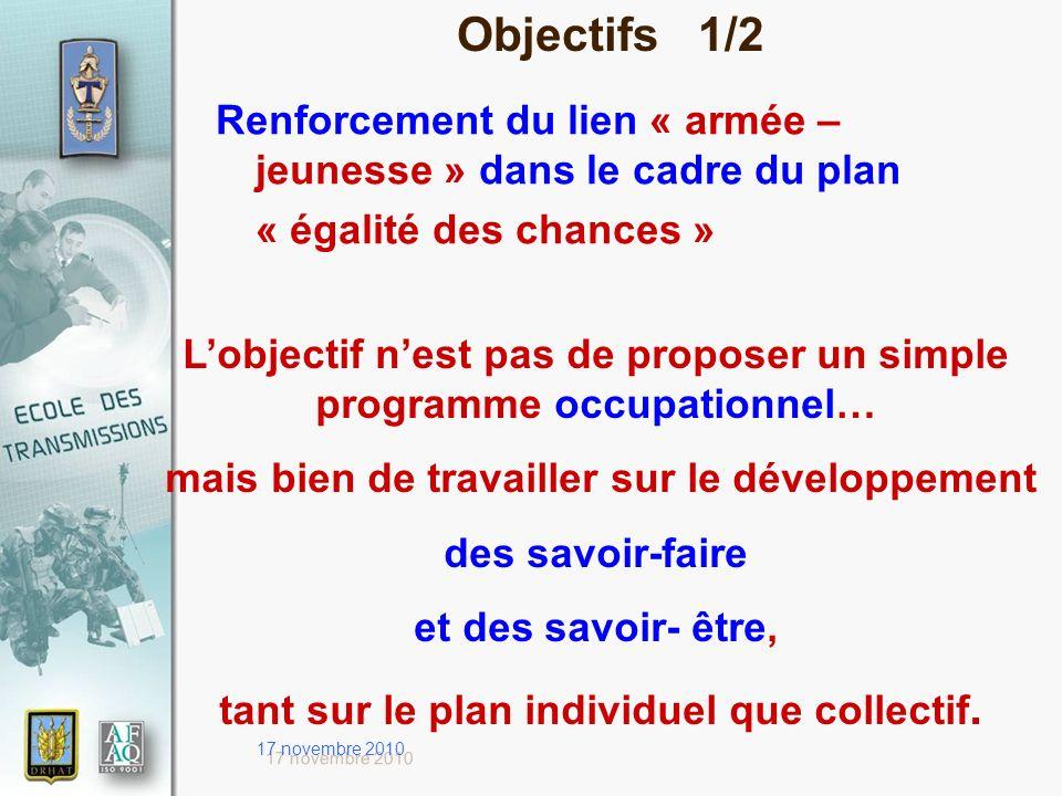 17 novembre 2010 Objectifs 1/2 Renforcement du lien « armée – jeunesse » dans le cadre du plan « égalité des chances » Lobjectif nest pas de proposer
