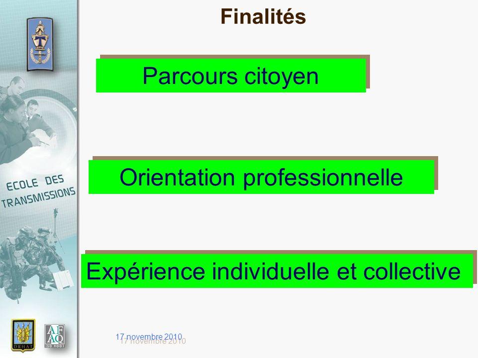 17 novembre 2010 Parcours citoyen Orientation professionnelle Expérience individuelle et collective Finalités