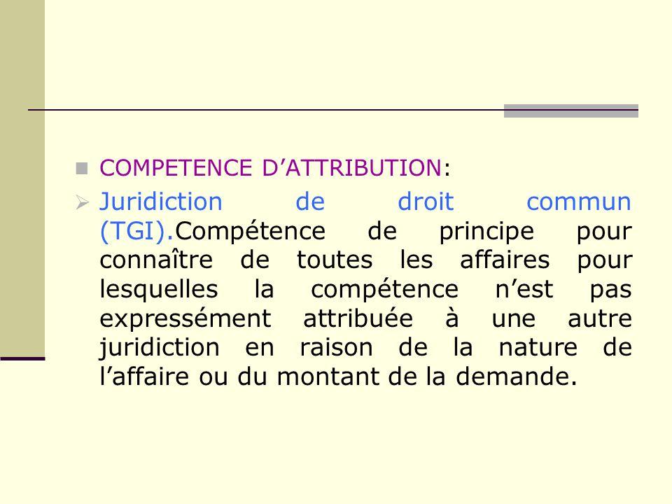 COMPETENCE DATTRIBUTION: Juridiction de droit commun (TGI).Compétence de principe pour connaître de toutes les affaires pour lesquelles la compétence