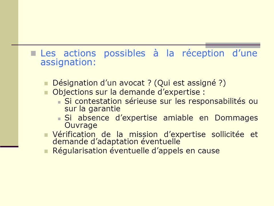 Les actions possibles à la réception dune assignation: Désignation dun avocat ? (Qui est assigné ?) Objections sur la demande dexpertise : Si contesta