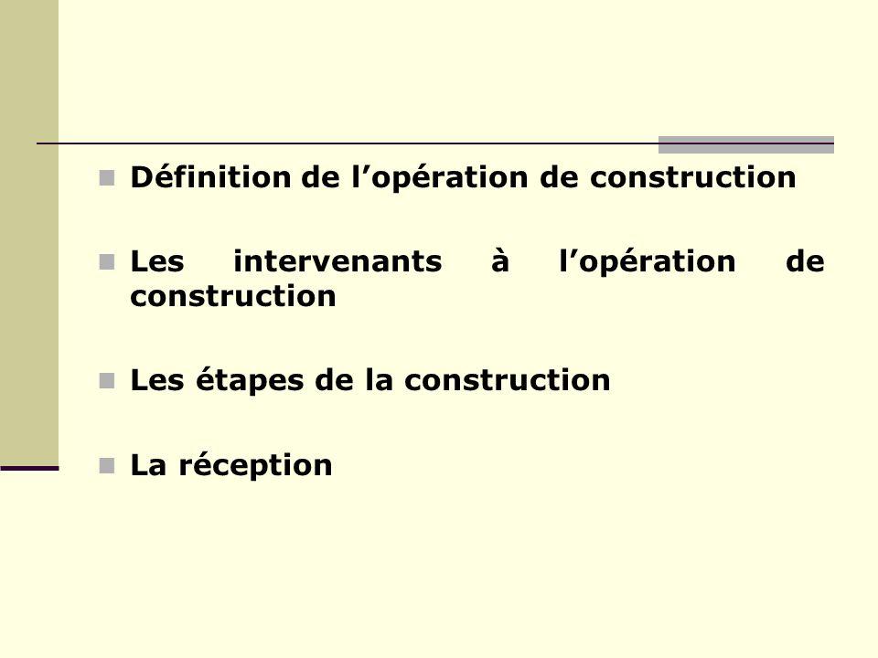 Définition de lopération de construction Les intervenants à lopération de construction Les étapes de la construction La réception