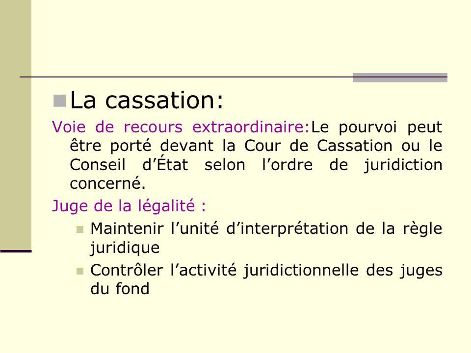 La cassation: Voie de recours extraordinaire:Le pourvoi peut être porté devant la Cour de Cassation ou le Conseil dÉtat selon lordre de juridiction co