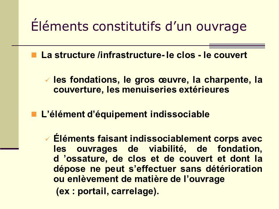 Éléments constitutifs dun ouvrage La structure /infrastructure- le clos - le couvert les fondations, le gros œuvre, la charpente, la couverture, les m