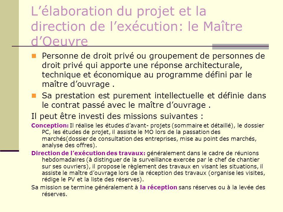 Lélaboration du projet et la direction de lexécution: le Maître dOeuvre Personne de droit privé ou groupement de personnes de droit privé qui apporte
