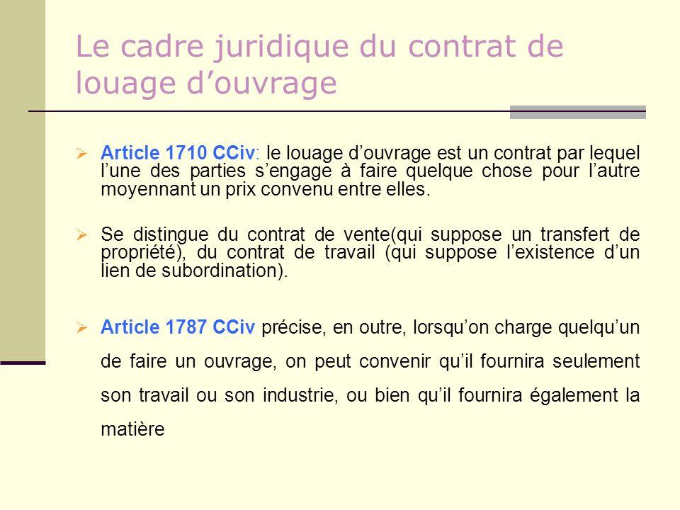 Le cadre juridique du contrat de louage douvrage Article 1710 CCiv: le louage douvrage est un contrat par lequel lune des parties sengage à faire quel