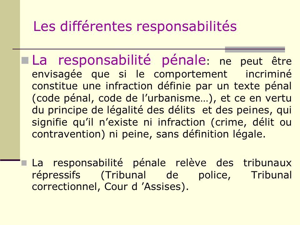Les différentes responsabilités La responsabilité pénale : ne peut être envisagée que si le comportement incriminé constitue une infraction définie pa