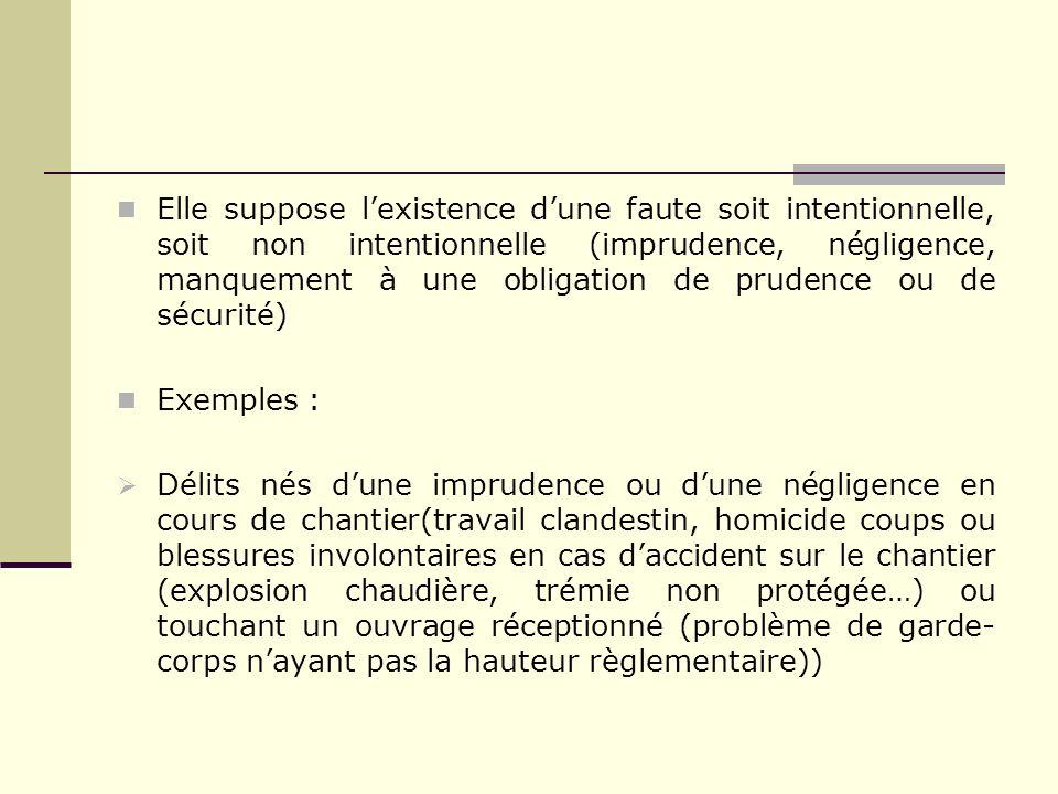 Elle suppose lexistence dune faute soit intentionnelle, soit non intentionnelle (imprudence, négligence, manquement à une obligation de prudence ou de