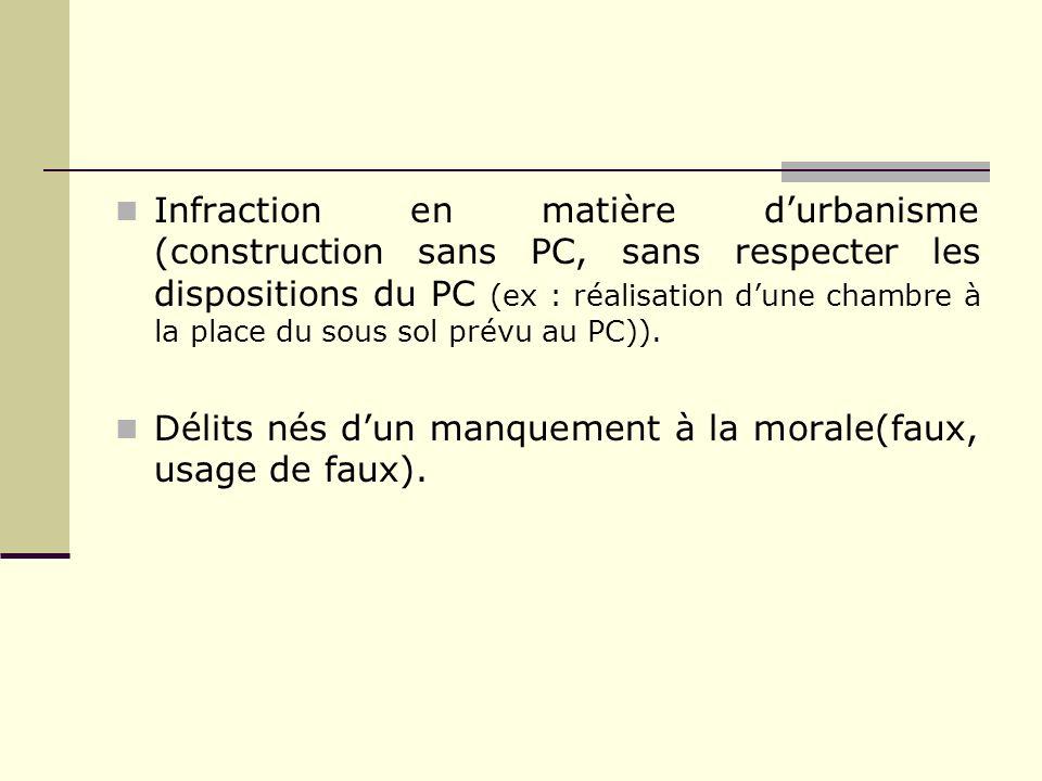 Infraction en matière durbanisme (construction sans PC, sans respecter les dispositions du PC (ex : réalisation dune chambre à la place du sous sol pr