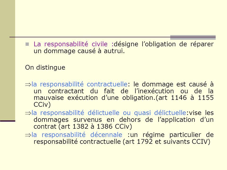 La responsabilité civile :désigne lobligation de réparer un dommage causé à autrui. On distingue la responsabilité contractuelle: le dommage est causé
