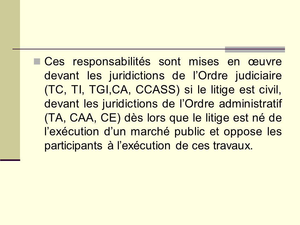 Ces responsabilités sont mises en œuvre devant les juridictions de lOrdre judiciaire (TC, TI, TGI,CA, CCASS) si le litige est civil, devant les juridi