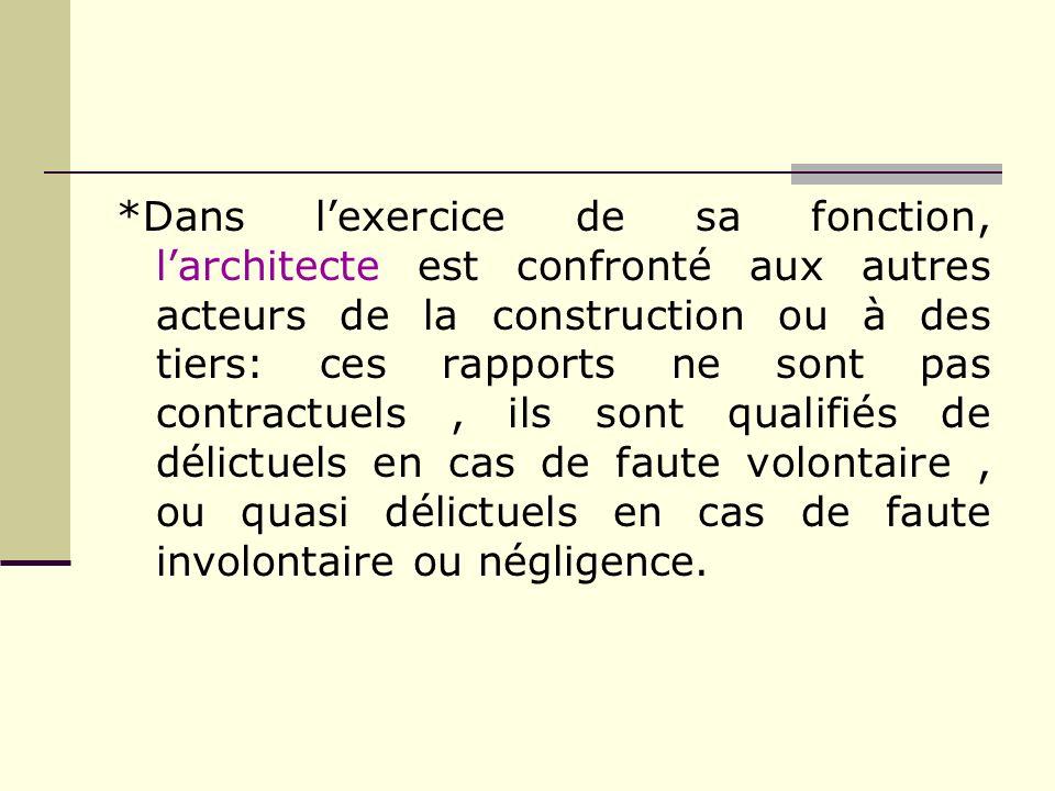 *Dans lexercice de sa fonction, larchitecte est confronté aux autres acteurs de la construction ou à des tiers: ces rapports ne sont pas contractuels,