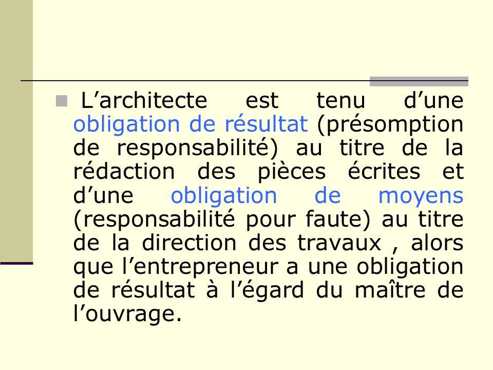 Larchitecte est tenu dune obligation de résultat (présomption de responsabilité) au titre de la rédaction des pièces écrites et dune obligation de moy