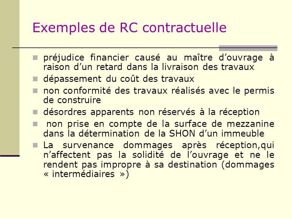 Exemples de RC contractuelle préjudice financier causé au maître douvrage à raison dun retard dans la livraison des travaux dépassement du coût des tr
