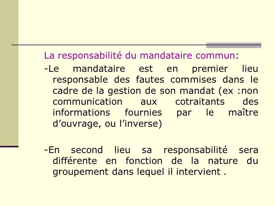 La responsabilité du mandataire commun: -Le mandataire est en premier lieu responsable des fautes commises dans le cadre de la gestion de son mandat (