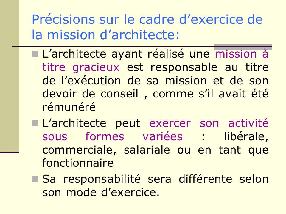Précisions sur le cadre dexercice de la mission darchitecte: Larchitecte ayant réalisé une mission à titre gracieux est responsable au titre de lexécu