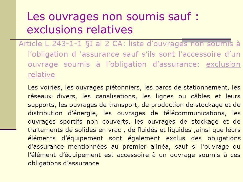 Les ouvrages non soumis sauf : exclusions relatives Article L 243-1-1 §I al 2 CA: liste douvrages non soumis à lobligation d assurance sauf sils sont