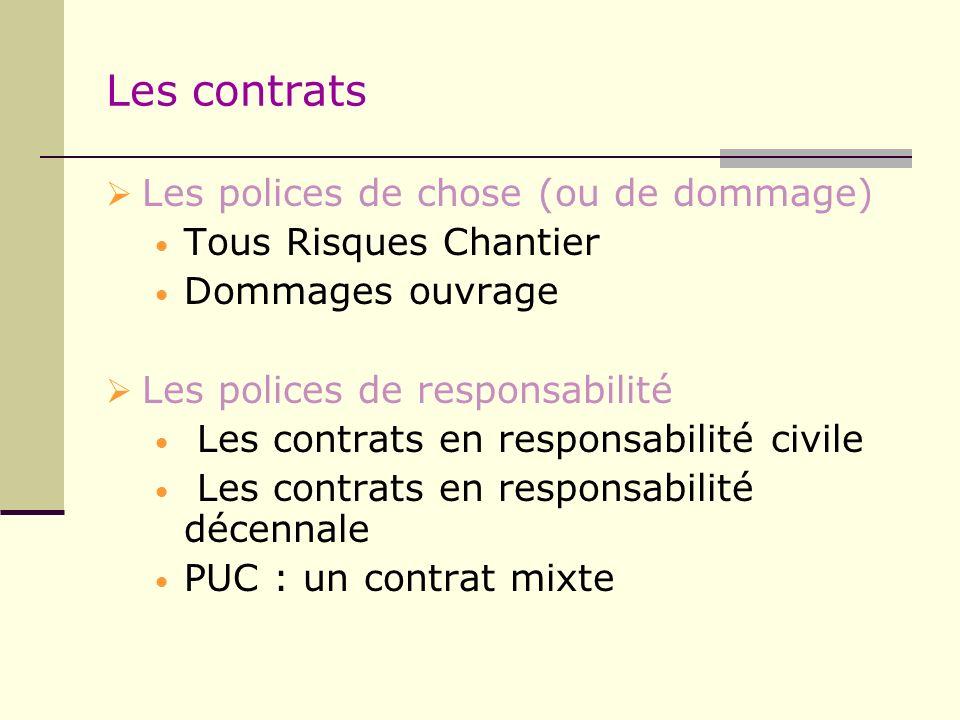 Les contrats Les polices de chose (ou de dommage) Tous Risques Chantier Dommages ouvrage Les polices de responsabilité Les contrats en responsabilité