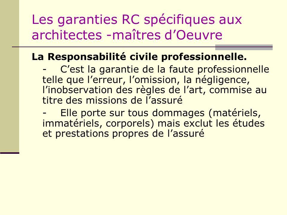 Les garanties RC spécifiques aux architectes -maîtres dOeuvre La Responsabilité civile professionnelle. -Cest la garantie de la faute professionnelle