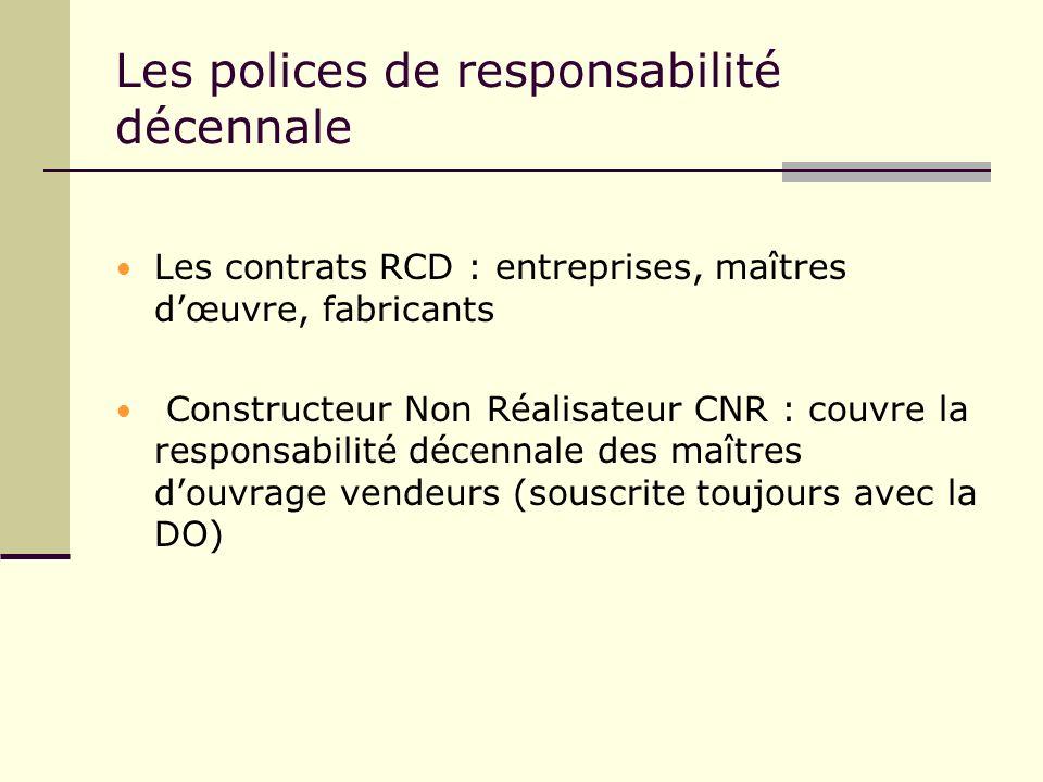Les polices de responsabilité décennale Les contrats RCD : entreprises, maîtres dœuvre, fabricants Constructeur Non Réalisateur CNR : couvre la respon