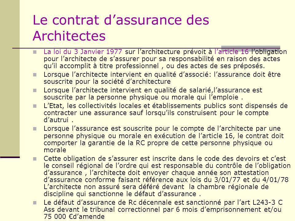 Le contrat dassurance des Architectes La loi du 3 Janvier 1977 sur larchitecture prévoit à larticle 16 lobligation pour larchitecte de sassurer pour s