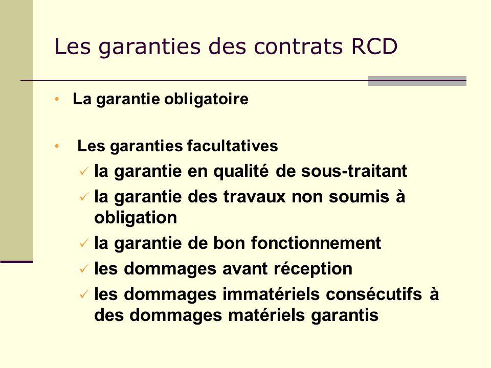 Les garanties des contrats RCD La garantie obligatoire Les garanties facultatives la garantie en qualité de sous-traitant la garantie des travaux non