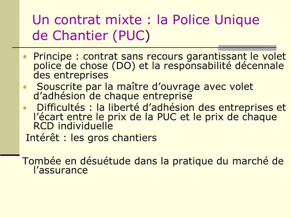 Un contrat mixte : la Police Unique de Chantier (PUC) Principe : contrat sans recours garantissant le volet police de chose (DO) et la responsabilité