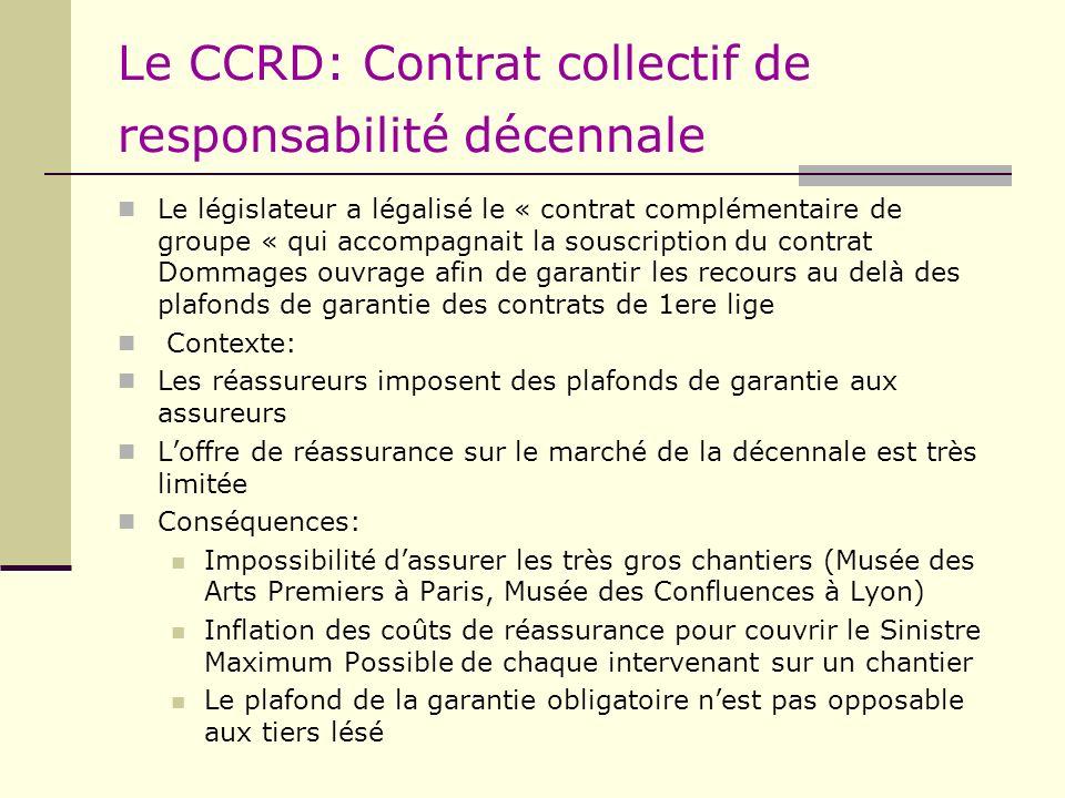 Le CCRD: Contrat collectif de responsabilité décennale Le législateur a légalisé le « contrat complémentaire de groupe « qui accompagnait la souscript