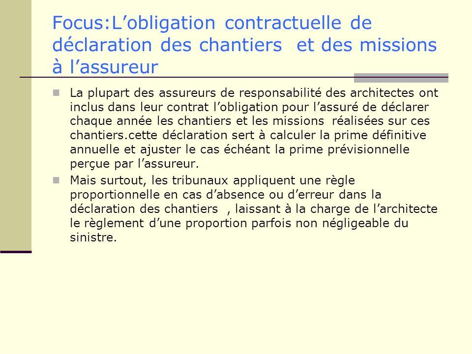 Focus:Lobligation contractuelle de déclaration des chantiers et des missions à lassureur La plupart des assureurs de responsabilité des architectes on