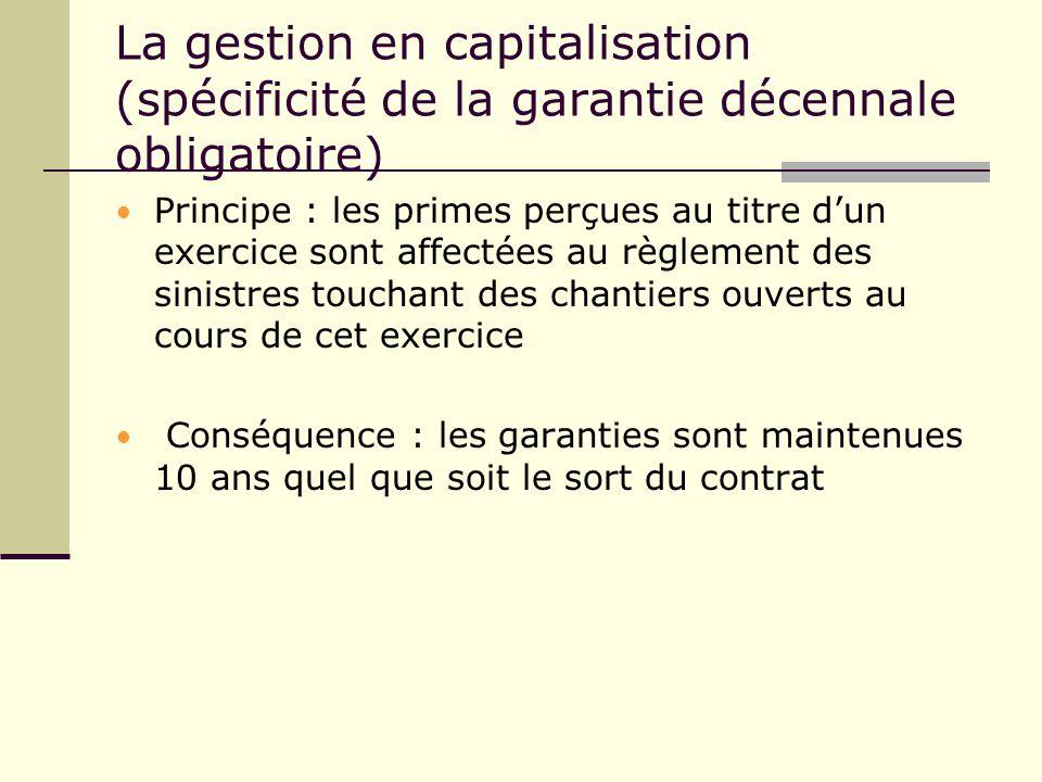 La gestion en capitalisation (spécificité de la garantie décennale obligatoire) Principe : les primes perçues au titre dun exercice sont affectées au