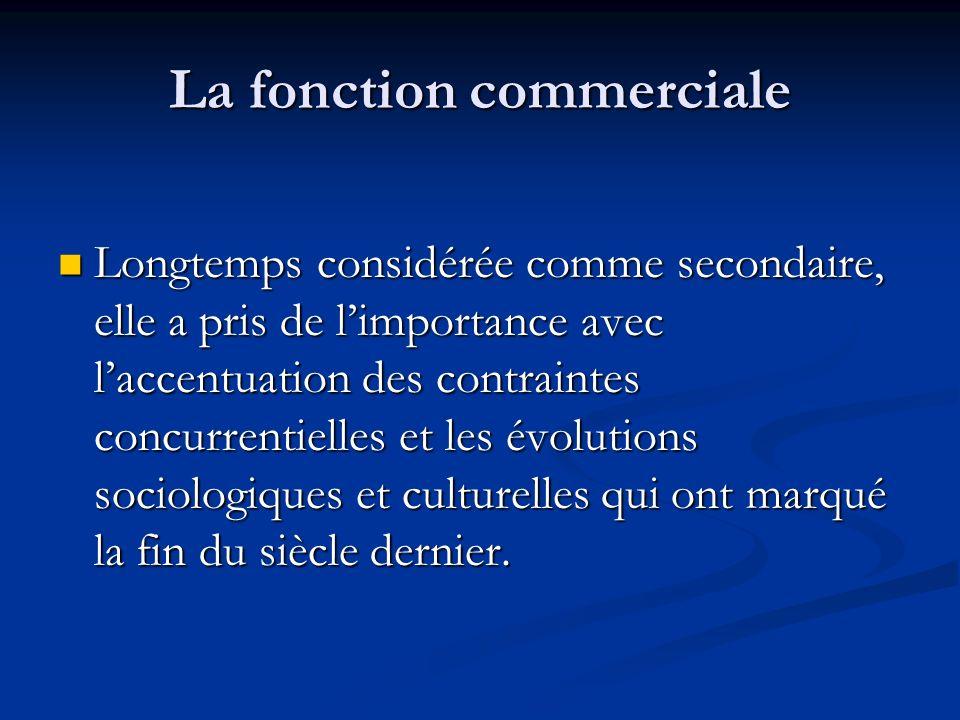 La fonction commerciale Longtemps considérée comme secondaire, elle a pris de limportance avec laccentuation des contraintes concurrentielles et les é