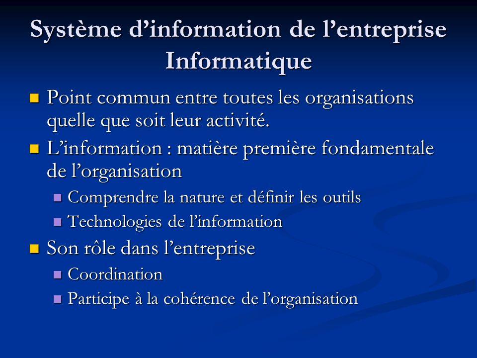 Système dinformation de lentreprise Informatique Point commun entre toutes les organisations quelle que soit leur activité. Point commun entre toutes