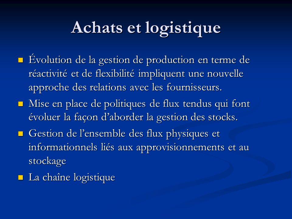 Achats et logistique Évolution de la gestion de production en terme de réactivité et de flexibilité impliquent une nouvelle approche des relations ave