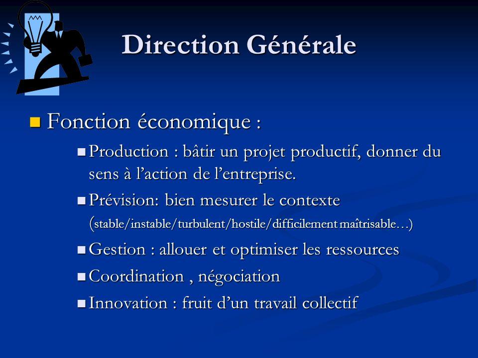 Direction Générale Fonction économique : Fonction économique : Production : bâtir un projet productif, donner du sens à laction de lentreprise. Produc
