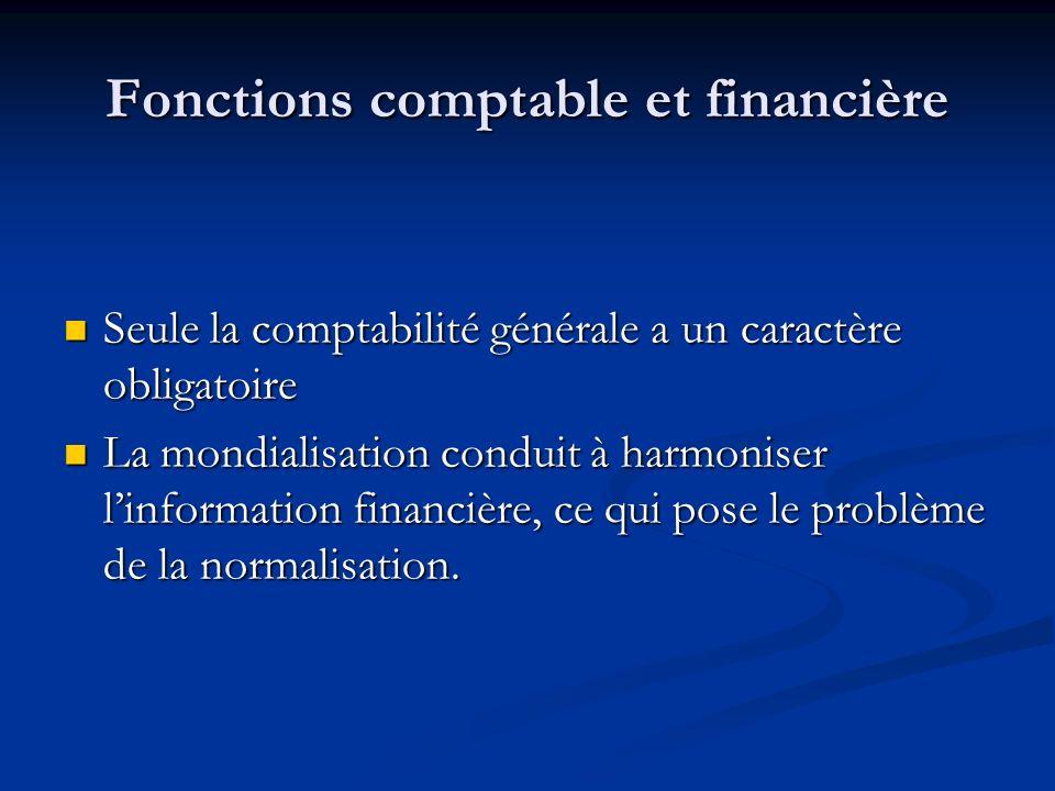 Fonctions comptable et financière Seule la comptabilité générale a un caractère obligatoire Seule la comptabilité générale a un caractère obligatoire