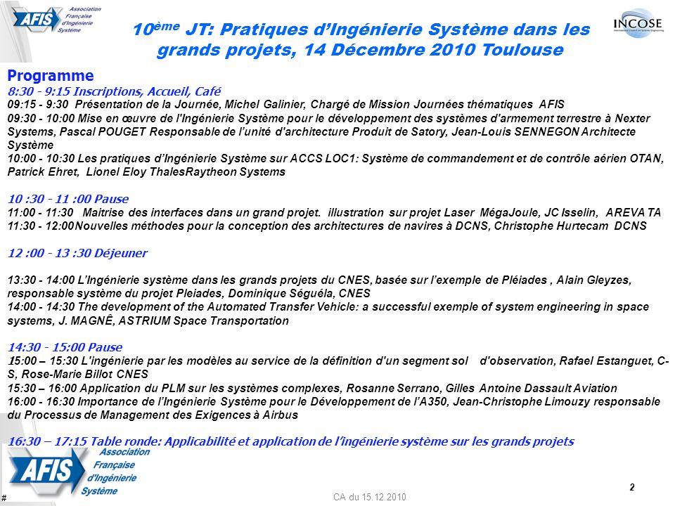 CA du 15.12.2010 10 ème JT: Pratiques dIngénierie Système dans les grands projets, 14 Décembre 2010 Toulouse Programme 8:30 - 9:15 Inscriptions, Accue