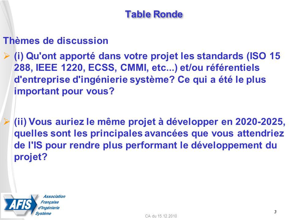CA du 15.12.2010 Table Ronde Thèmes de discussion (i) Qu'ont apporté dans votre projet les standards (ISO 15 288, IEEE 1220, ECSS, CMMI, etc...) et/ou