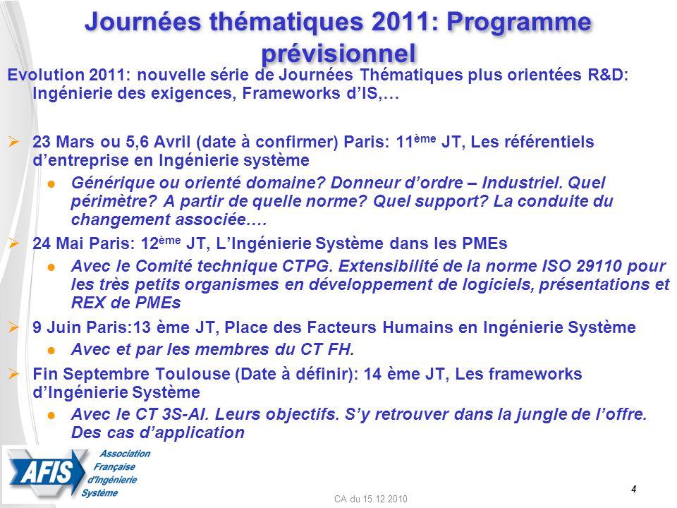CA du 15.12.2010 4 Programme prévisionnel Journées thématiques 2011: Programme prévisionnel Evolution 2011: nouvelle série de Journées Thématiques plu