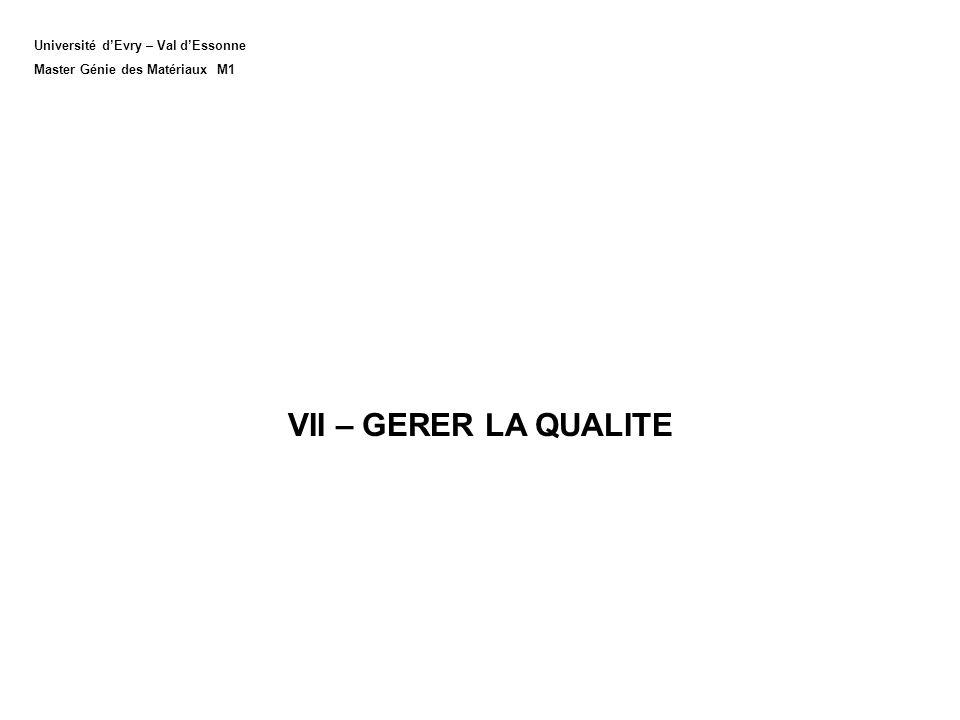 Université dEvry – Val dEssonne Master Génie des Matériaux M1 VII – GERER LA QUALITE