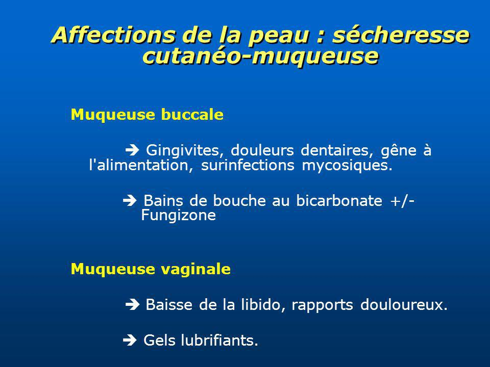 Affections de la peau : sécheresse cutanéo-muqueuse Muqueuse buccale Gingivites, douleurs dentaires, gêne à l'alimentation, surinfections mycosiques.